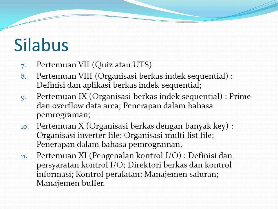 Silabus Pertemuan VII (Quiz atau UTS)