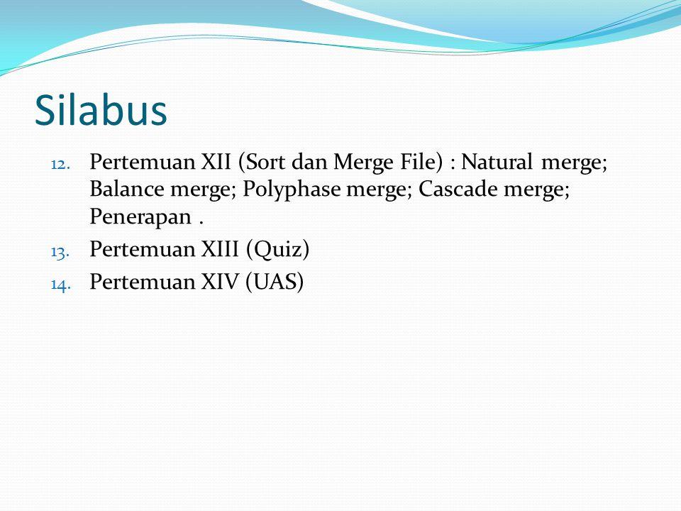 Silabus Pertemuan XII (Sort dan Merge File) : Natural merge; Balance merge; Polyphase merge; Cascade merge; Penerapan .