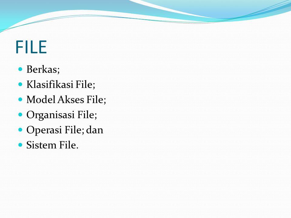 FILE Berkas; Klasifikasi File; Model Akses File; Organisasi File;
