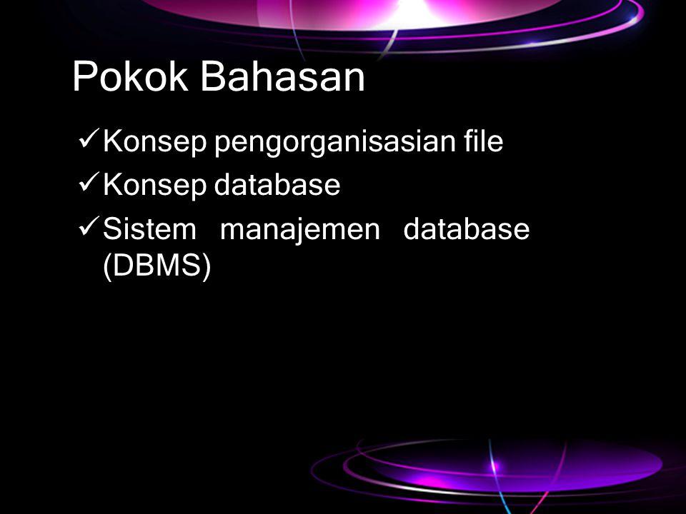 Pokok Bahasan Konsep pengorganisasian file Konsep database
