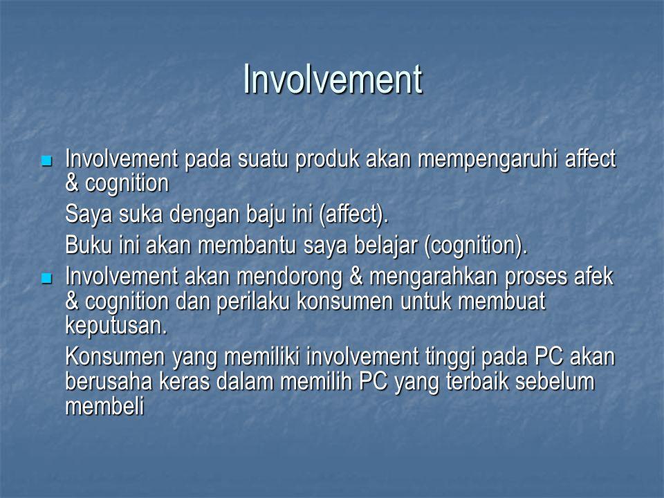 Involvement Involvement pada suatu produk akan mempengaruhi affect & cognition. Saya suka dengan baju ini (affect).