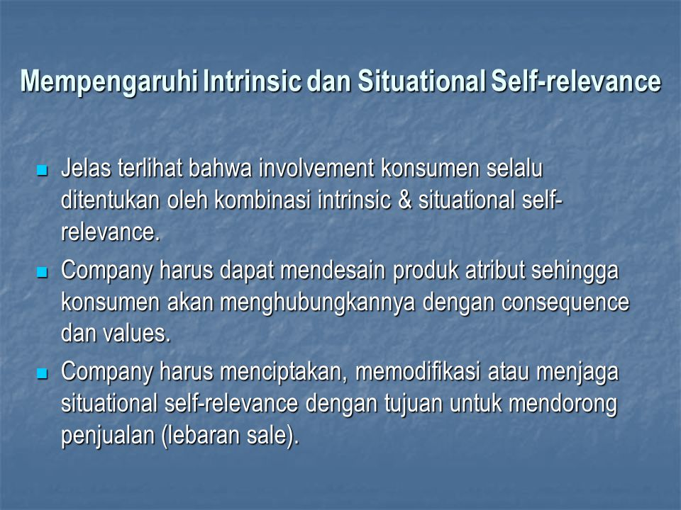 Mempengaruhi Intrinsic dan Situational Self-relevance