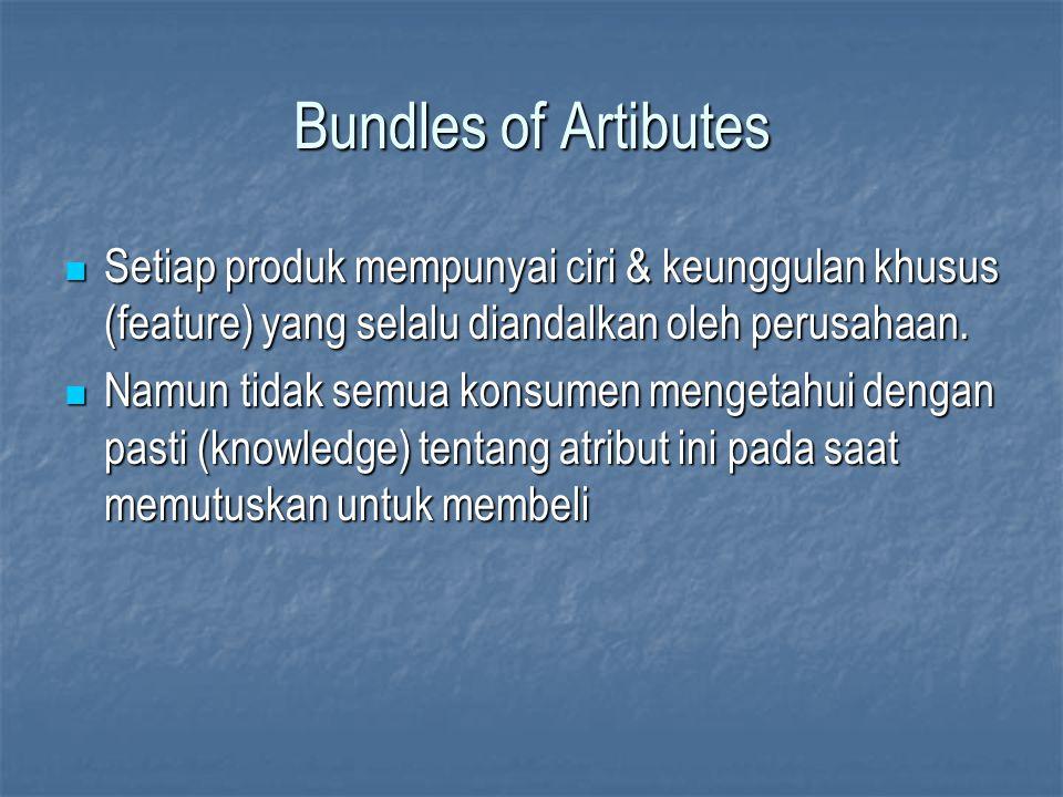 Bundles of Artibutes Setiap produk mempunyai ciri & keunggulan khusus (feature) yang selalu diandalkan oleh perusahaan.