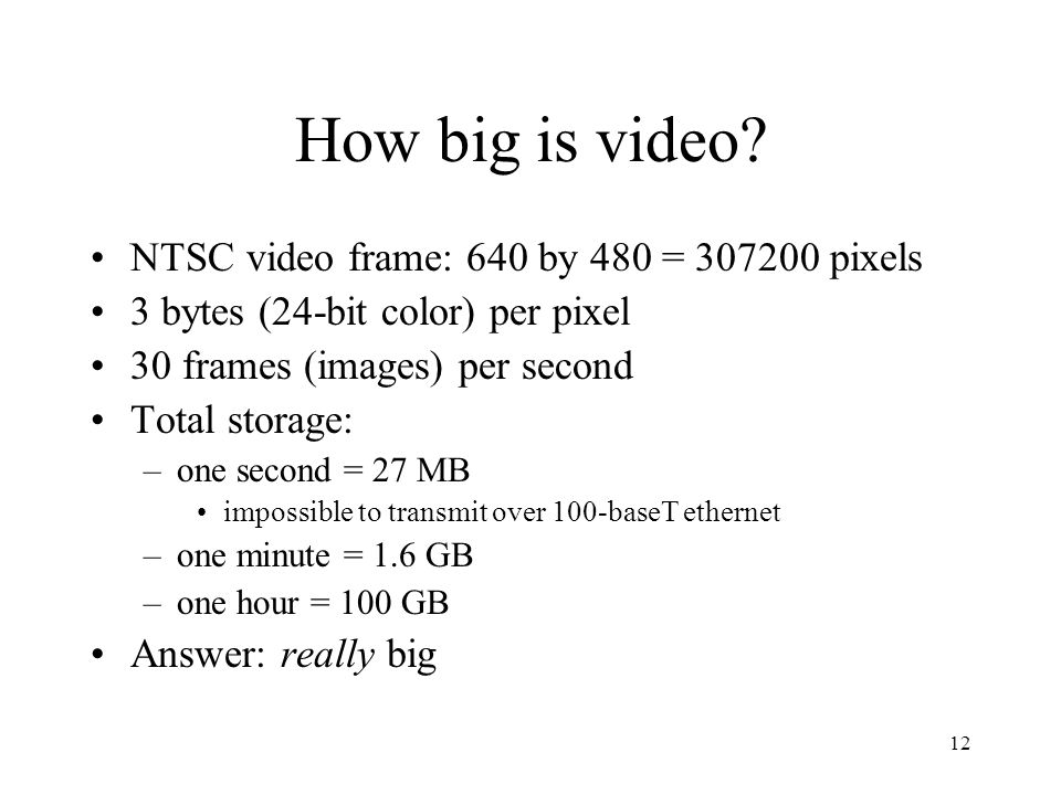 How big is video NTSC video frame: 640 by 480 = 307200 pixels