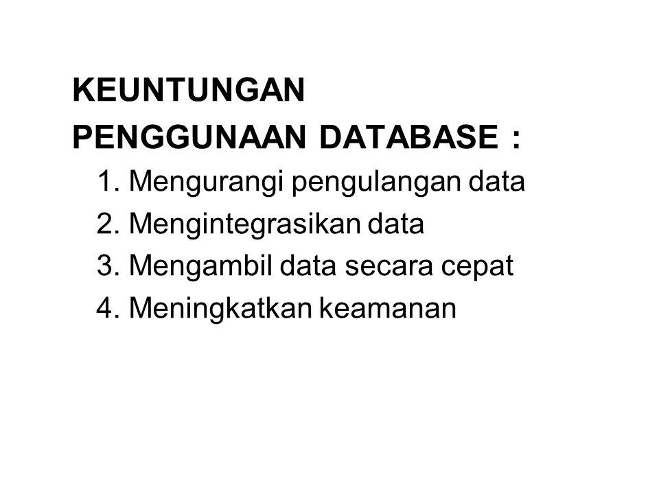 KEUNTUNGAN PENGGUNAAN DATABASE : 1. Mengurangi pengulangan data