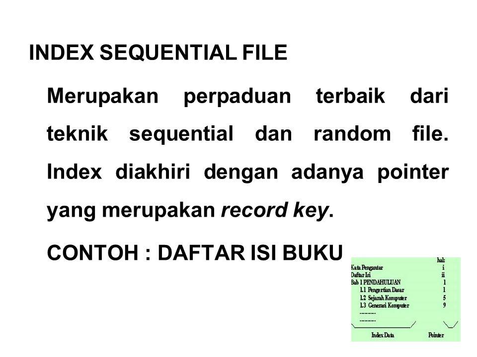 INDEX SEQUENTIAL FILE Merupakan perpaduan terbaik dari teknik sequential dan random file.