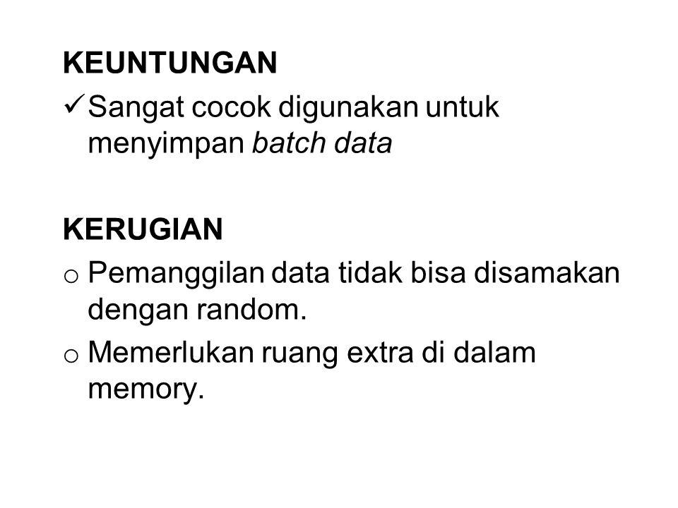 KEUNTUNGAN Sangat cocok digunakan untuk menyimpan batch data. KERUGIAN. Pemanggilan data tidak bisa disamakan dengan random.
