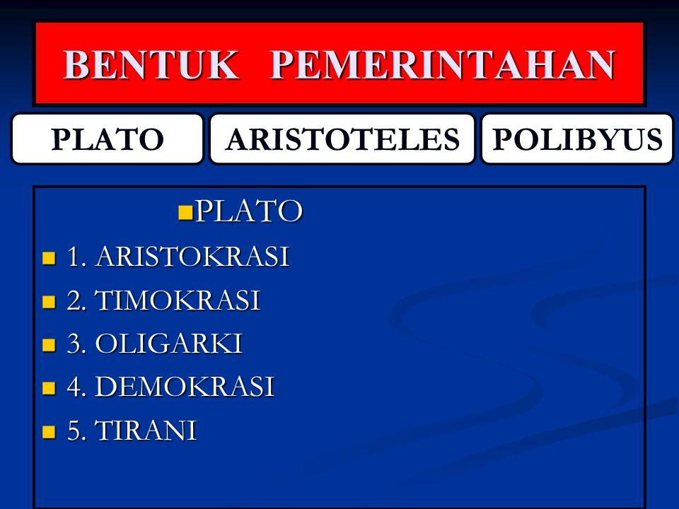 BENTUK PEMERINTAHAN PLATO ARISTOTELES POLIBYUS PLATO 1. ARISTOKRASI