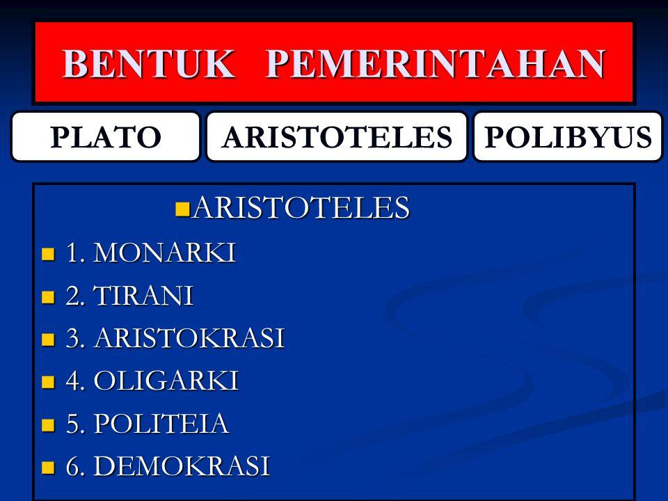BENTUK PEMERINTAHAN PLATO ARISTOTELES POLIBYUS ARISTOTELES 1. MONARKI