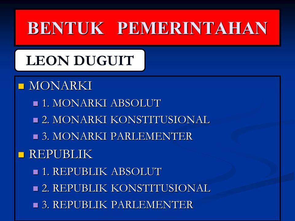 BENTUK PEMERINTAHAN LEON DUGUIT MONARKI REPUBLIK 1. MONARKI ABSOLUT