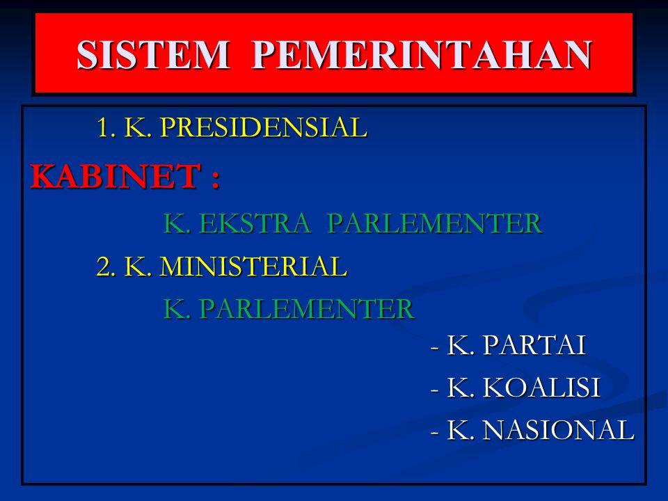 SISTEM PEMERINTAHAN KABINET : 1. K. PRESIDENSIAL K. EKSTRA PARLEMENTER