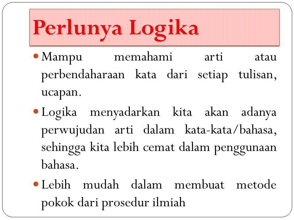 Perlunya Logika Mampu memahami arti atau perbendaharaan kata dari setiap tulisan, ucapan.