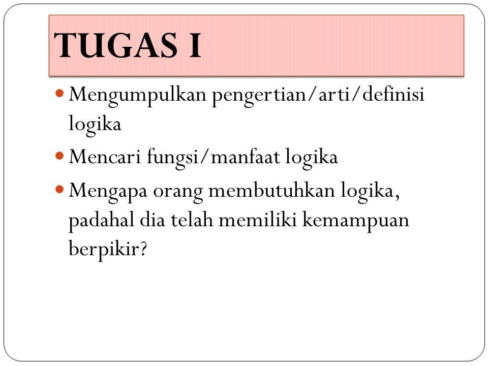 TUGAS I Mengumpulkan pengertian/arti/definisi logika