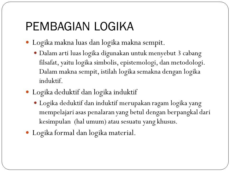 PEMBAGIAN LOGIKA Logika makna luas dan logika makna sempit.