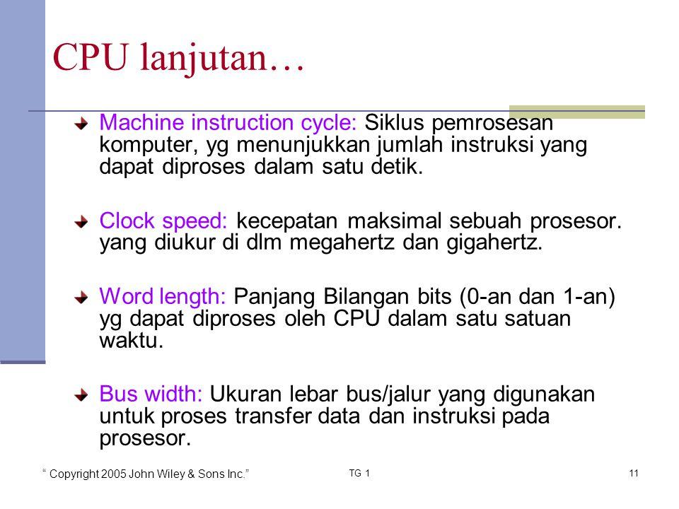 CPU lanjutan… Machine instruction cycle: Siklus pemrosesan komputer, yg menunjukkan jumlah instruksi yang dapat diproses dalam satu detik.