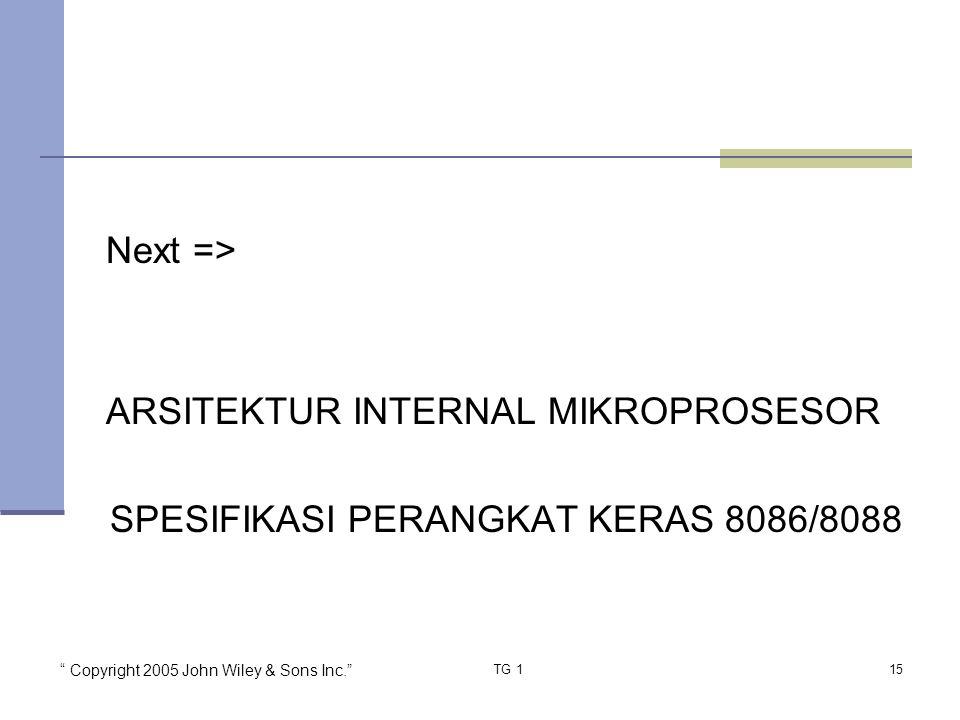 Next => ARSITEKTUR INTERNAL MIKROPROSESOR SPESIFIKASI PERANGKAT KERAS 8086/8088