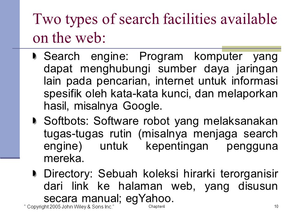 Two types of search facilities available on the web: