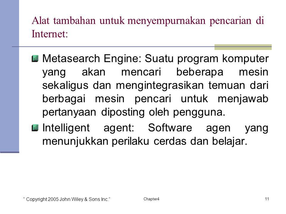 Alat tambahan untuk menyempurnakan pencarian di Internet: