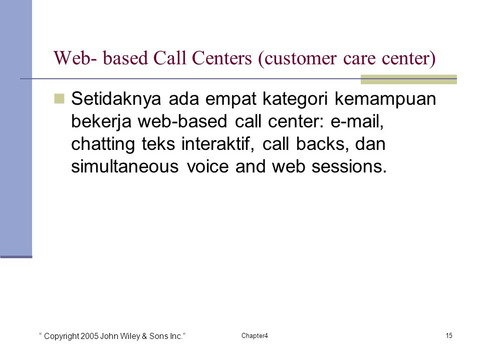 Web- based Call Centers (customer care center)