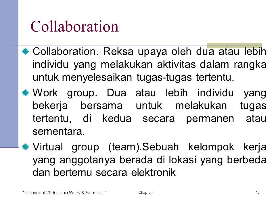 Collaboration Collaboration. Reksa upaya oleh dua atau lebih individu yang melakukan aktivitas dalam rangka untuk menyelesaikan tugas-tugas tertentu.