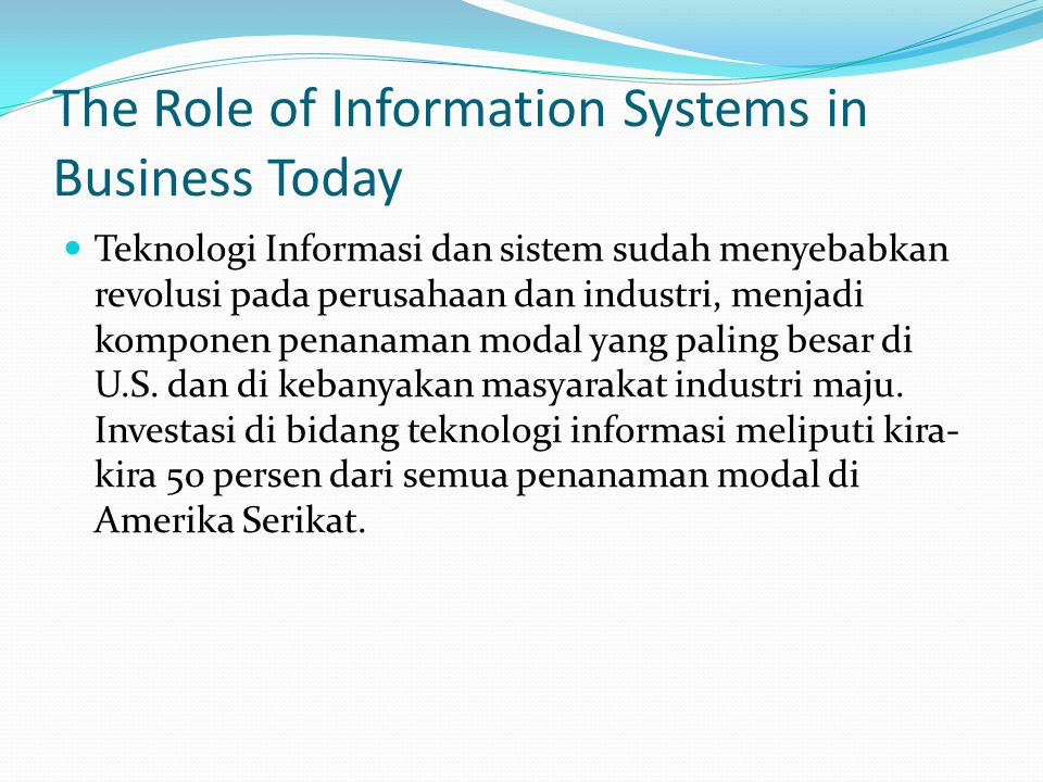 information systems have become the backbone of business today Management insight on the impact of it on organizations our experience shows that many new systems fail to become the above insight is as valid today as.