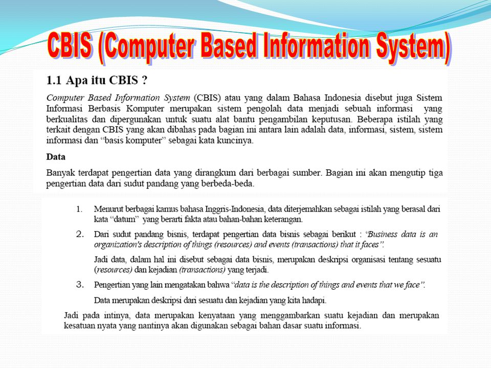 CBIS (Computer Based Information System)