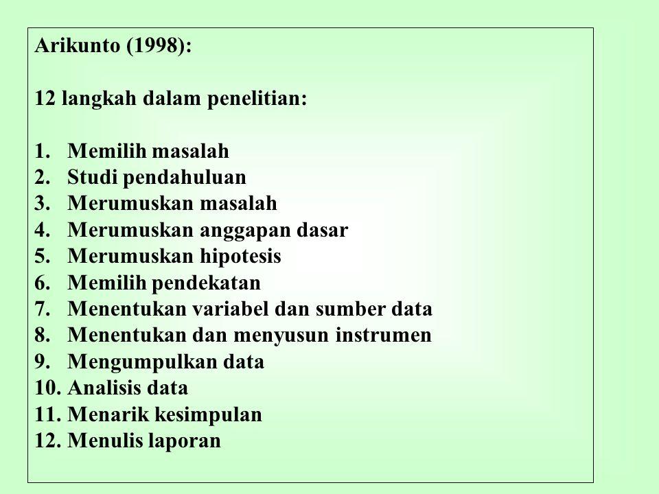 Arikunto (1998): 12 langkah dalam penelitian: Memilih masalah. Studi pendahuluan. Merumuskan masalah.