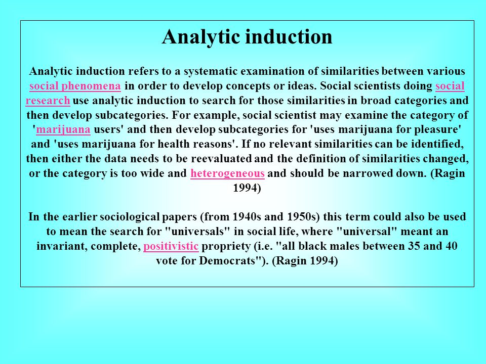 Analytic induction