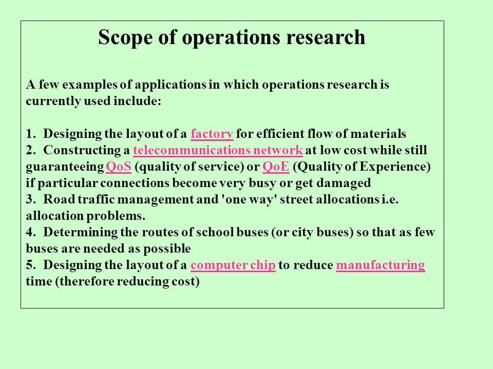 Scope of operations research