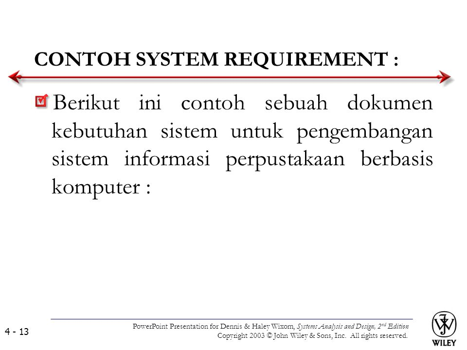 CONTOH SYSTEM REQUIREMENT :