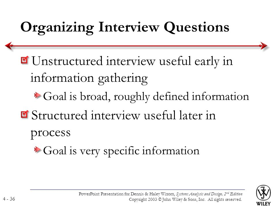 Organizing Interview Questions