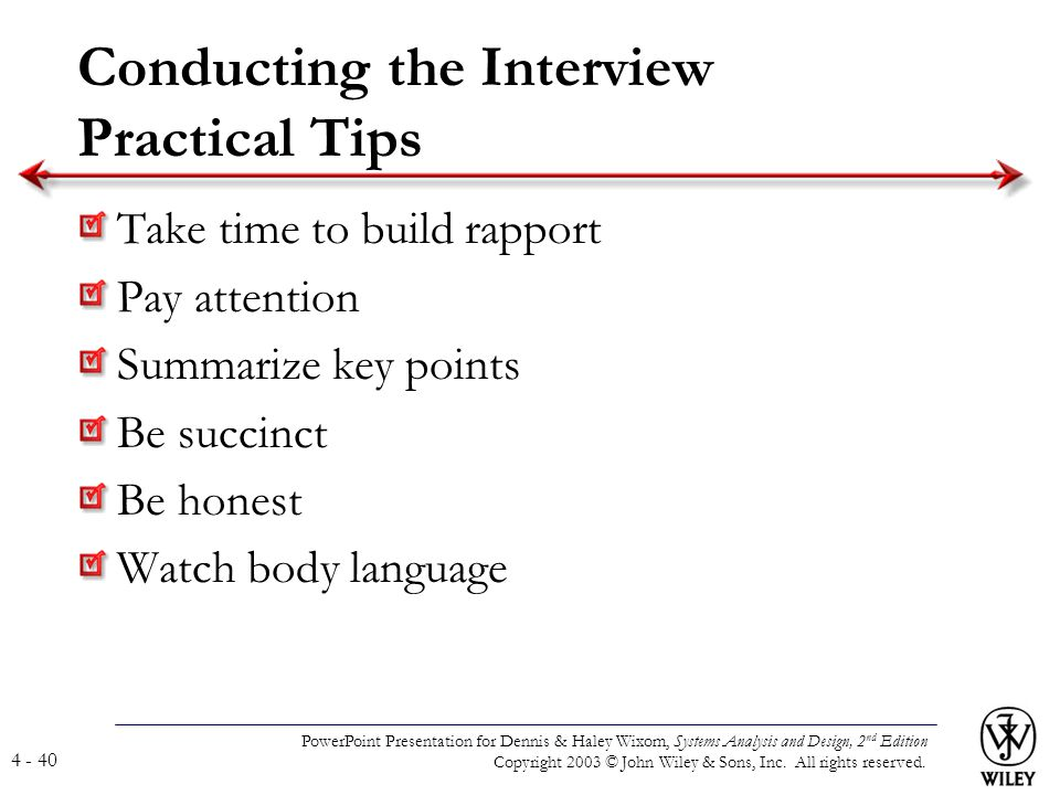 Conducting the Interview Practical Tips