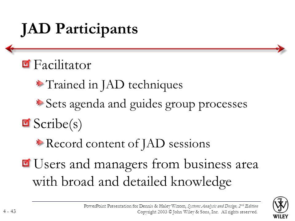 JAD Participants Facilitator Scribe(s)