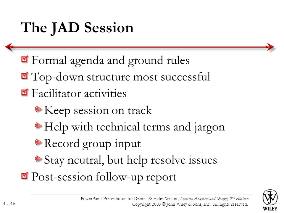 The JAD Session Formal agenda and ground rules
