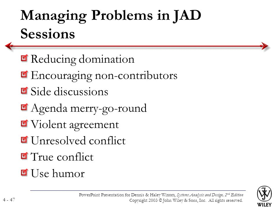 Managing Problems in JAD Sessions