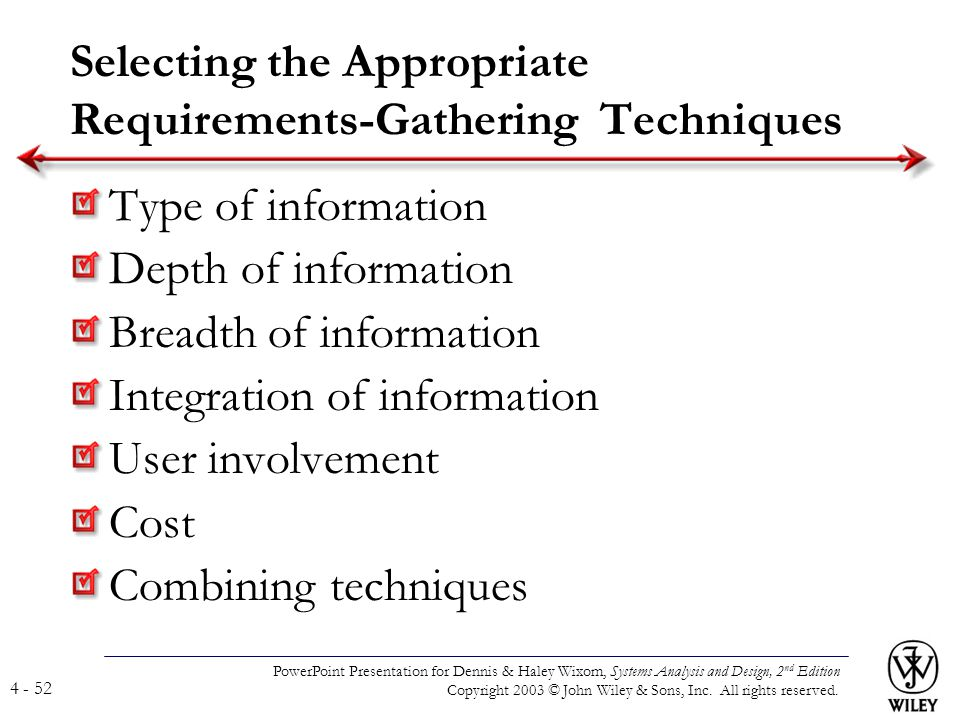 Selecting the Appropriate Requirements-Gathering Techniques