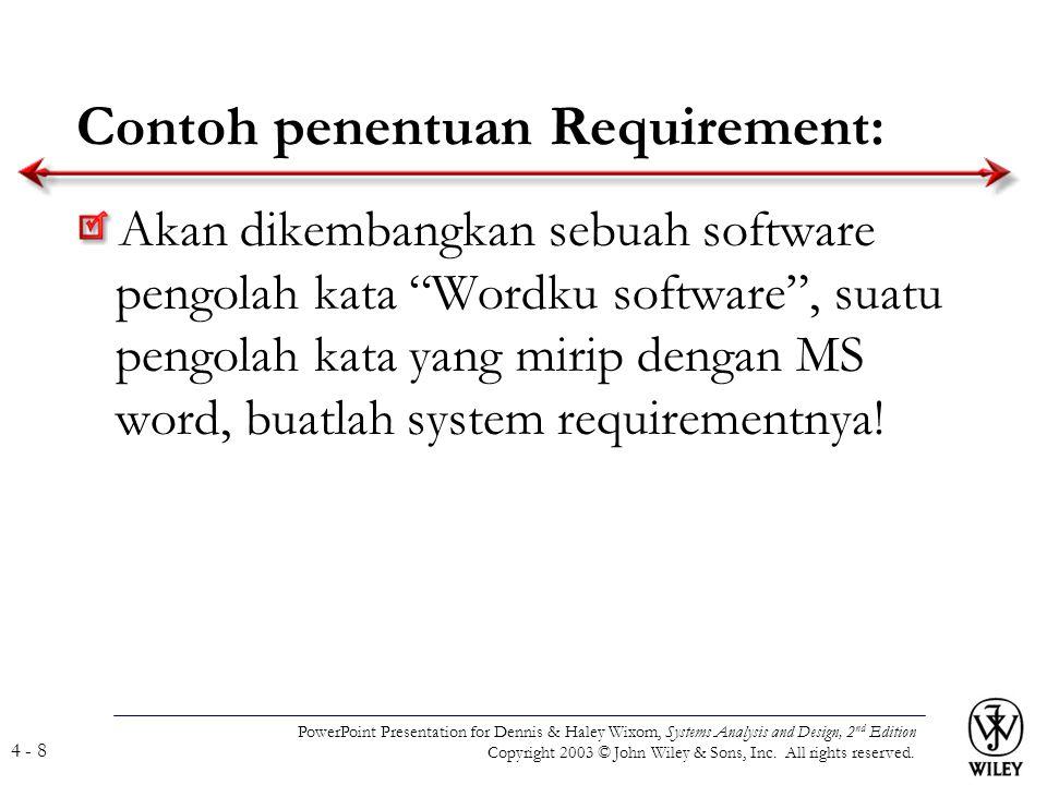 Contoh penentuan Requirement: