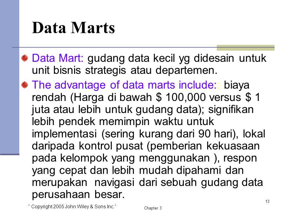 Data Marts Data Mart: gudang data kecil yg didesain untuk unit bisnis strategis atau departemen.