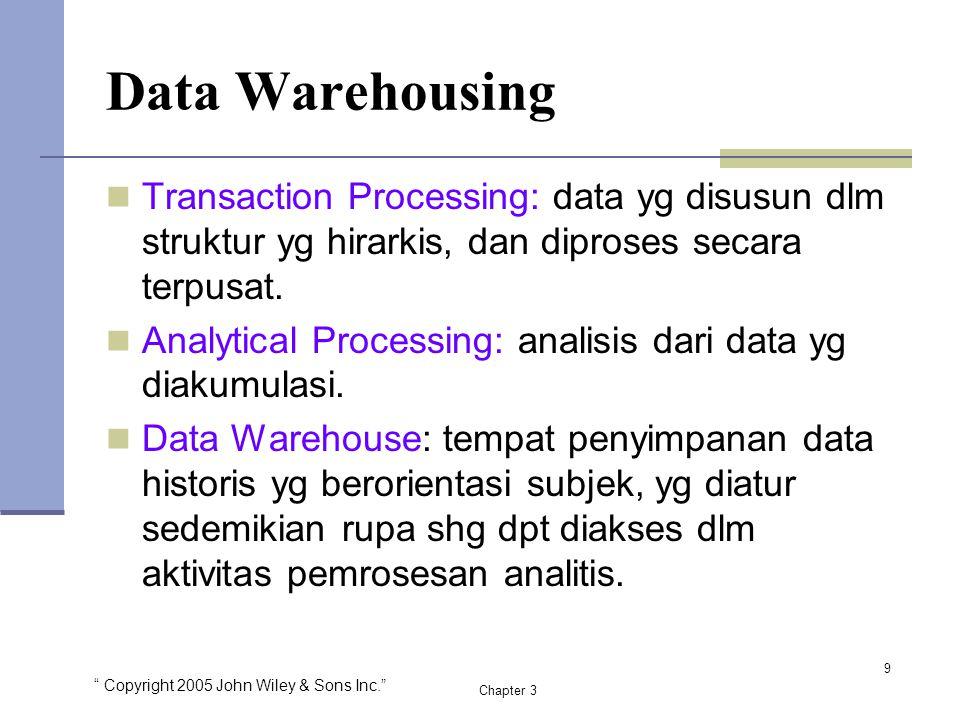 Data Warehousing Transaction Processing: data yg disusun dlm struktur yg hirarkis, dan diproses secara terpusat.