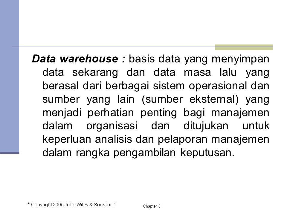 Data warehouse : basis data yang menyimpan data sekarang dan data masa lalu yang berasal dari berbagai sistem operasional dan sumber yang lain (sumber eksternal) yang menjadi perhatian penting bagi manajemen dalam organisasi dan ditujukan untuk keperluan analisis dan pelaporan manajemen dalam rangka pengambilan keputusan.