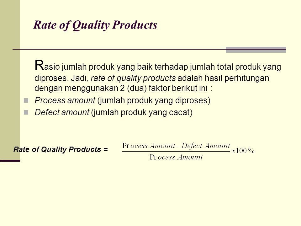 Rate of Quality Products