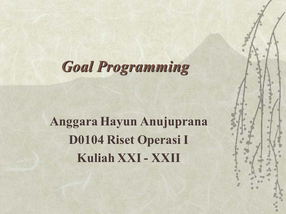 Anggara Hayun Anujuprana D0104 Riset Operasi I Kuliah XXI - XXII