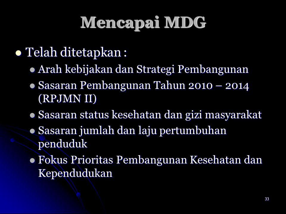 Mencapai MDG Telah ditetapkan :