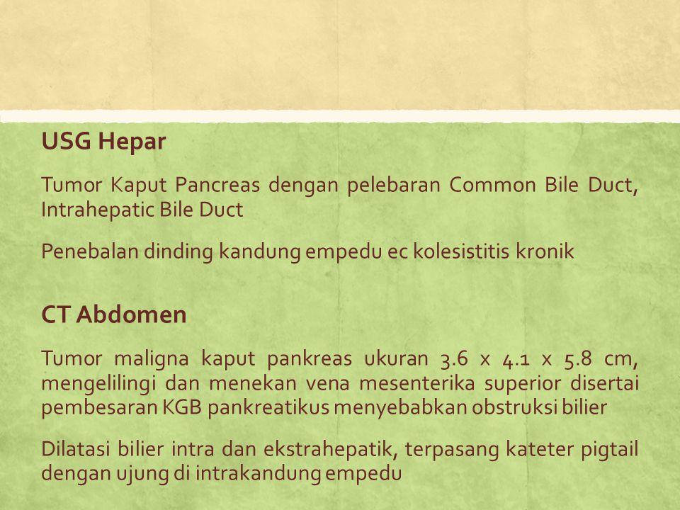 USG Hepar Tumor Kaput Pancreas dengan pelebaran Common Bile Duct, Intrahepatic Bile Duct. Penebalan dinding kandung empedu ec kolesistitis kronik.