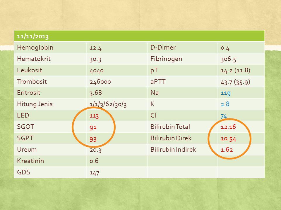 11/11/2013 Hemoglobin. 12.4. D-Dimer. 0.4. Hematokrit. 30.3. Fibrinogen. 306.5. Leukosit. 4040.