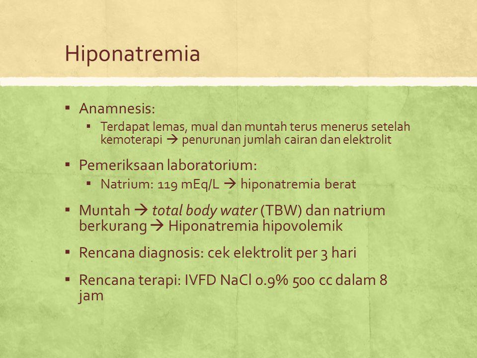 Hiponatremia Anamnesis: Pemeriksaan laboratorium: