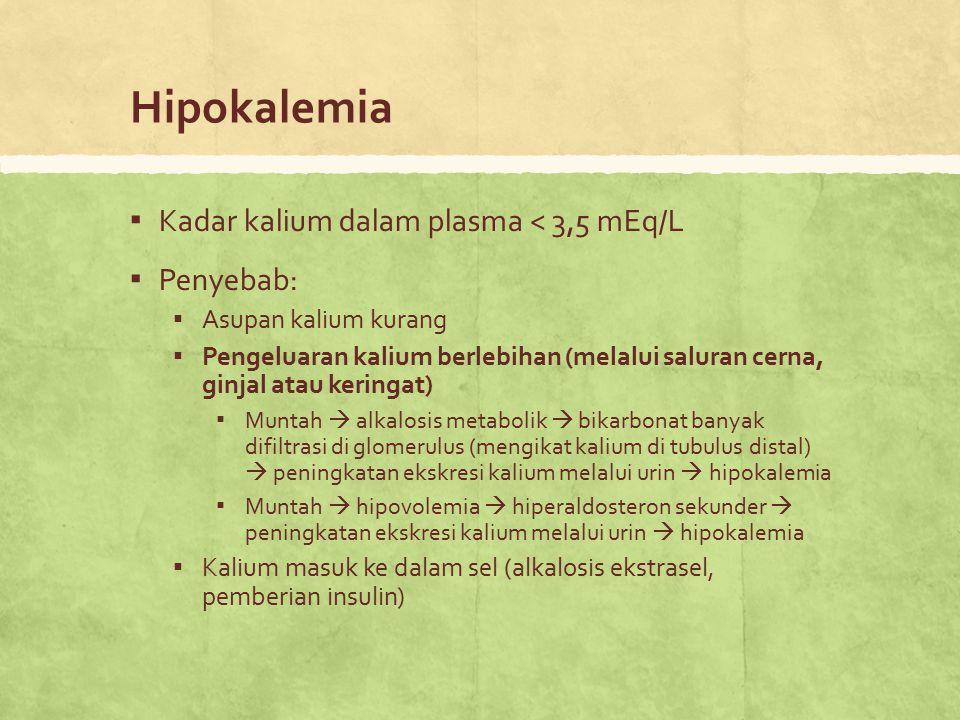 Hipokalemia Kadar kalium dalam plasma < 3,5 mEq/L Penyebab: