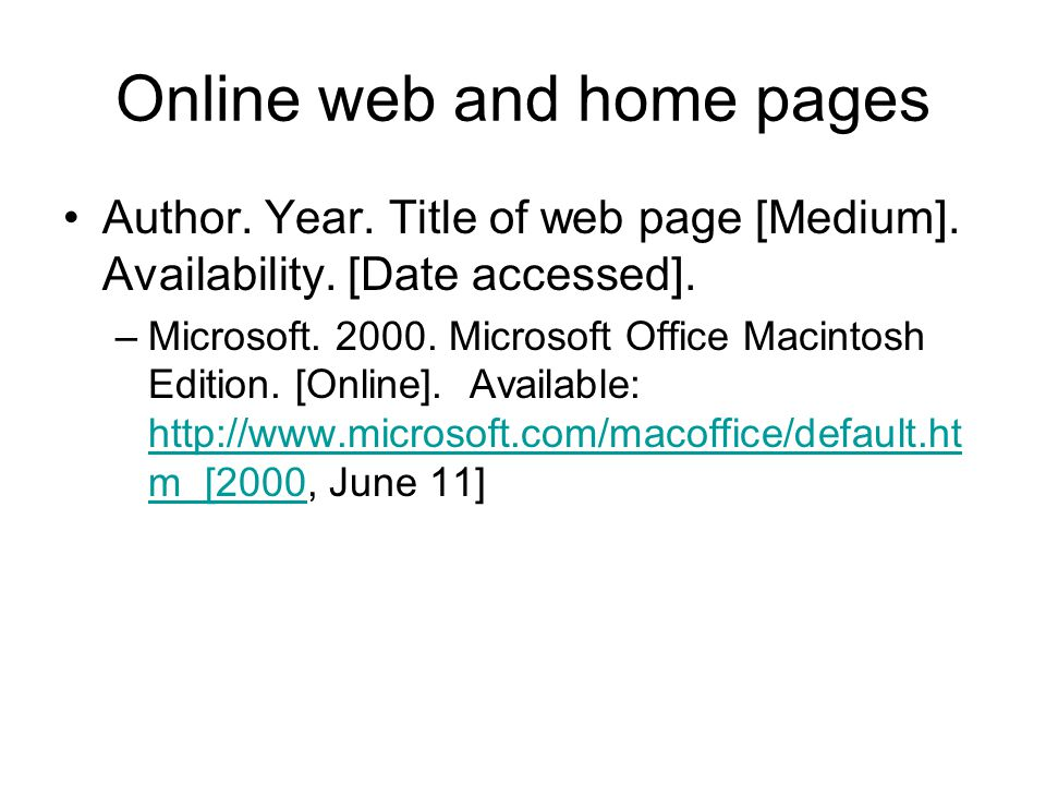 Online web and home pages
