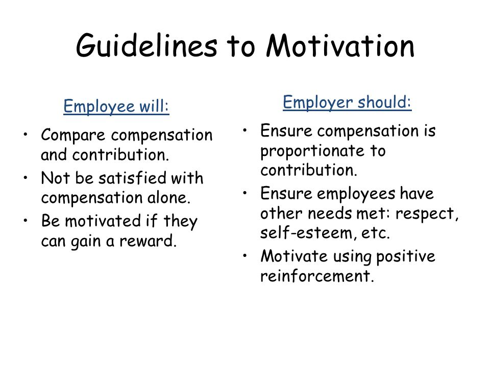 Guidelines to Motivation