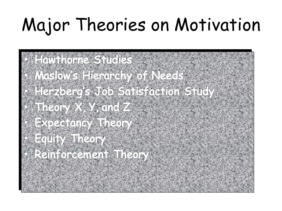 Major Theories on Motivation